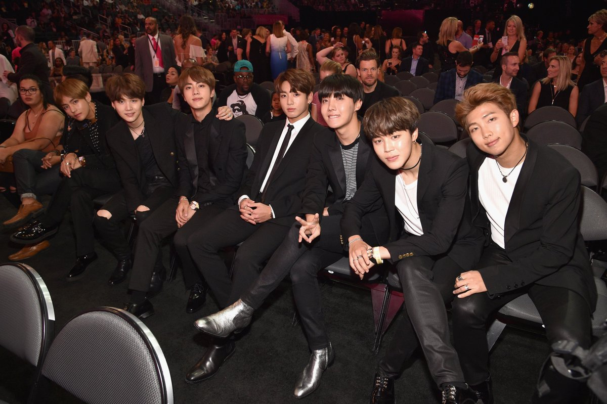 How adorable are the @BTS_twt boys in the #BBMAs crowd? 😍