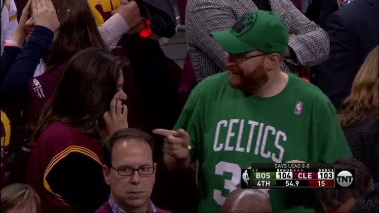 'Yeah, the Celtics are finally in a game so he's pointing and laughing...