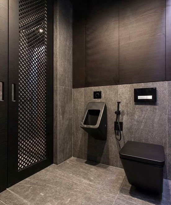 Is this #bathroomdesign too dark? For some it might be. We think it looks beautifully #stylish!<br>http://pic.twitter.com/SSGDyTrxFl