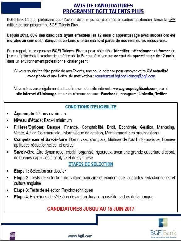 BGFI appel à candidature #chezmoiaucongo