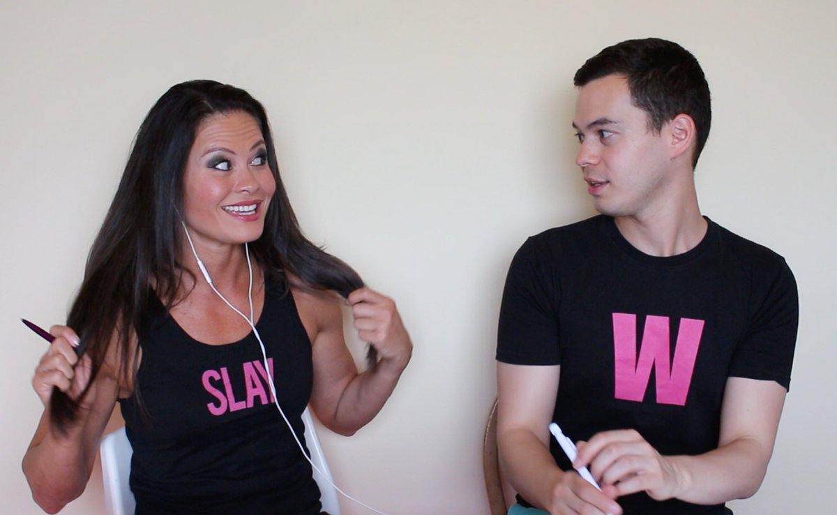 If she likes your #Eurovision song, she moves her hair to reveal the word SLAY on her breasts. It&#39;s the wiwi way. <br>http://pic.twitter.com/jVE9xjHuyt