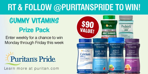 #GIVEAWAY: RT &amp; follow us for a chance to #win a Gummy Vitamins #Prize Pack:  http:// bit.ly/gummies-pp  &nbsp;   #probiotics #calcium #beauty <br>http://pic.twitter.com/2ZWJbnR3qE