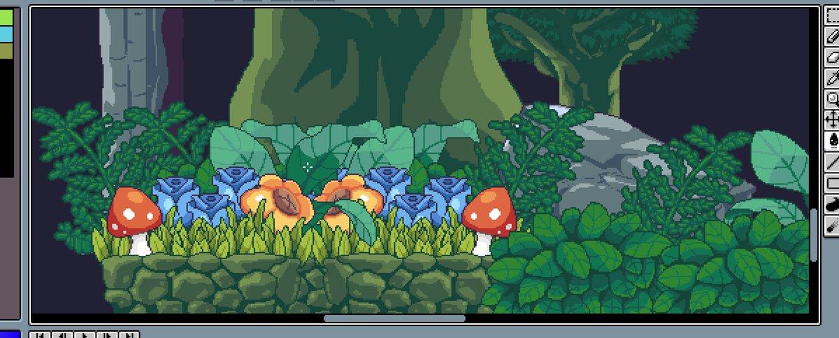 Mini #pixelart garden in my window! A game under development w @thejoysteak #gamedev #indiedev #indiegame #gameart #pixel #garden #aseprite<br>http://pic.twitter.com/7WSIt15xrZ