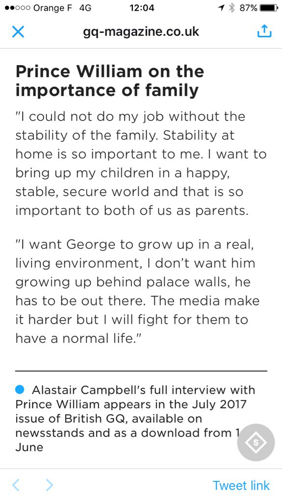 Prince William criticises media attention re his kids in a @BritishGQ...
