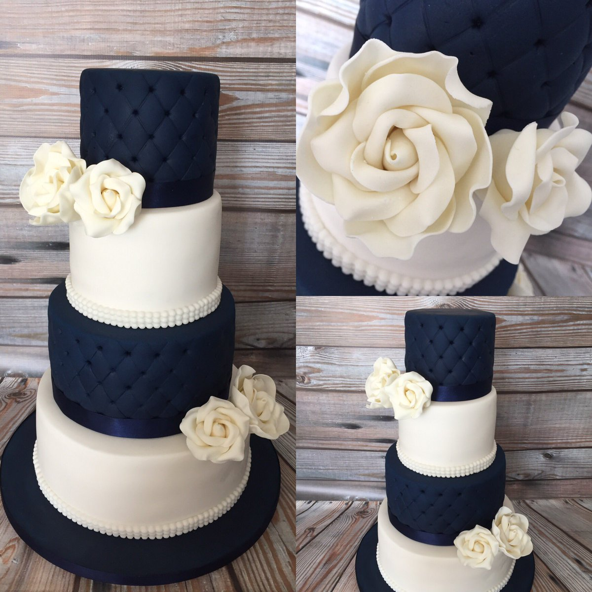 Dark blue and white 4tier #wedding #cake made to order @CakesAdams finished with #handcrafted roses and quilted effect. #sheffieldissuper<br>http://pic.twitter.com/fB55lzDWDl