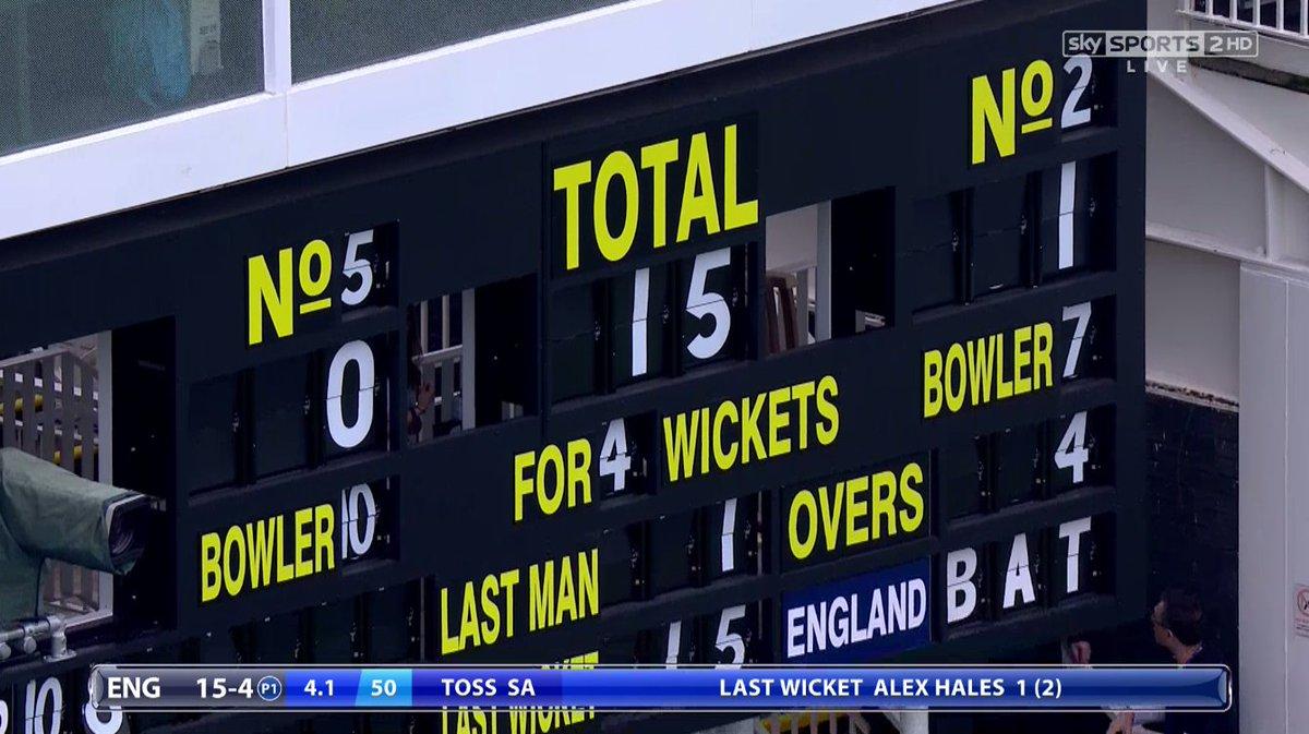 WICKET! Hales c Amla b Rabada 1 - England 15-4  Live on Sky Sports 2 H...