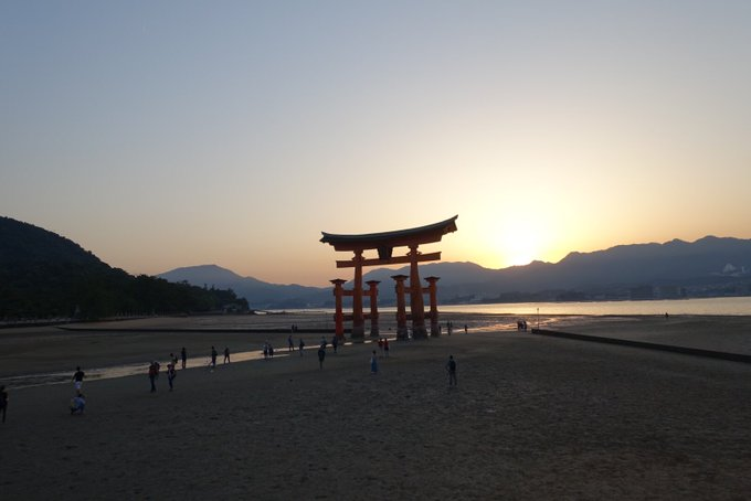 Itsukushima Shrine of #Hiroshima during low tide - amazing scene!  #Japan #travel #monday