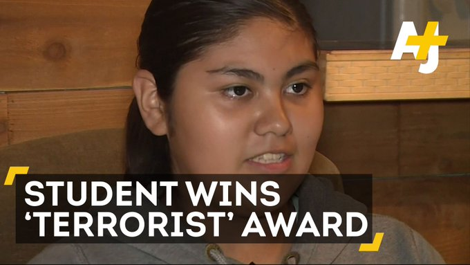 A school awarded this 13-year-old girl a 'most likely to become a terrorist award.' WTF.