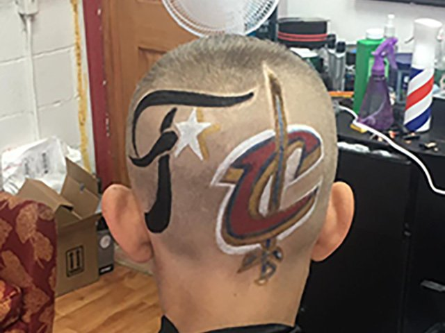 PHOTOS: Cleveland #Cavaliers inspire creative cuts! @WestParkBarber https://t.co/tXXyAXWK75 #DefendtheLand