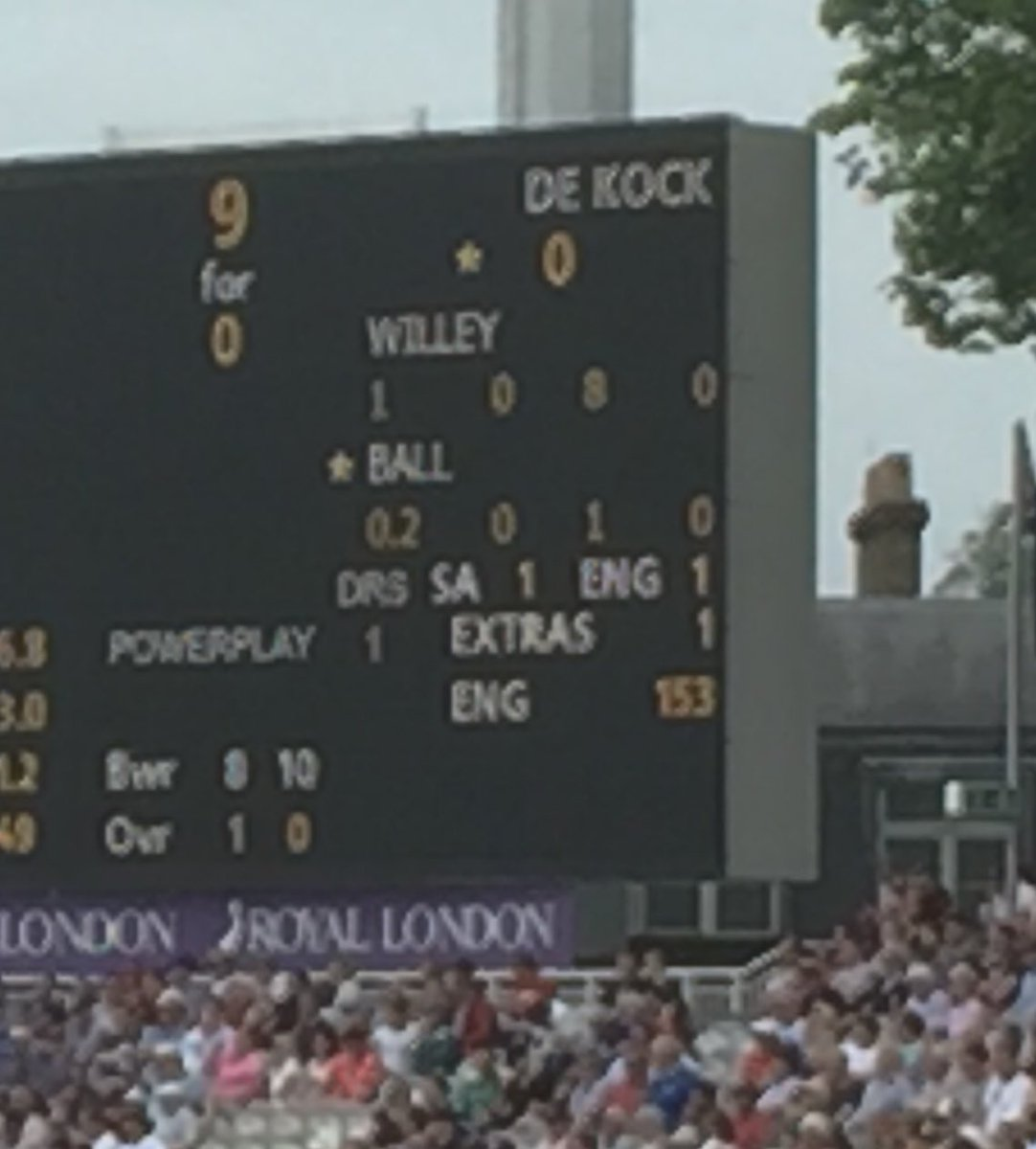Proud to be at Lords for this historic event: Willey & Ball bowling at De Cock. https://t.co/AsO1mUAJb5