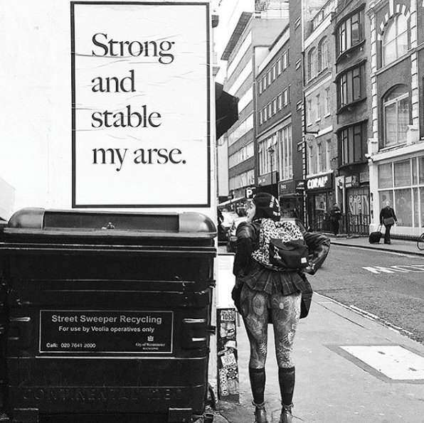 Strong and stable my arse', a Jeremy Deller artist's poster 'out there' #FlyingLeaps https://t.co/pOxOE97T7m