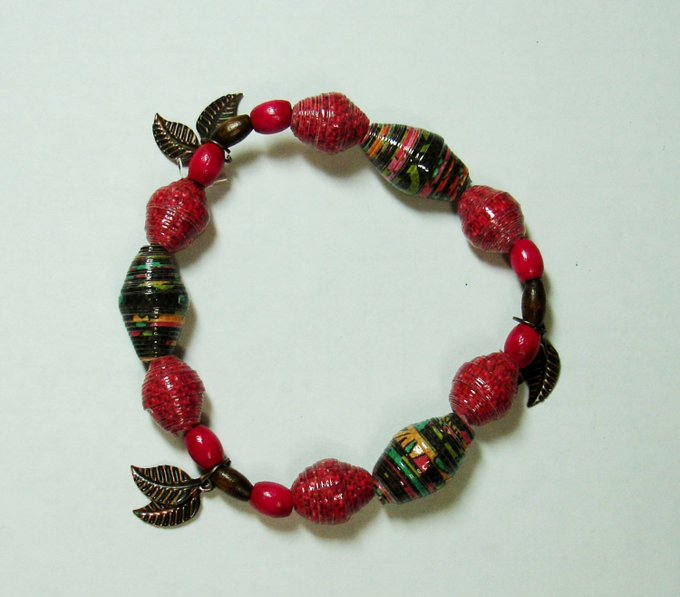 Paper Bead Bracelet, Handmade Jewelry Fall Dark Tones Leaves