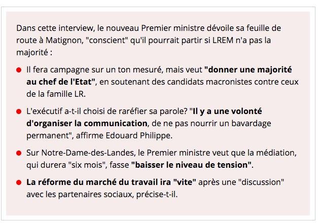 Législatives, code du travail, fiscalité, méthode : l'intégralité de l'interview d'Edouard Philippe au JDD est ici > https://t.co/NAbBmVFKH9