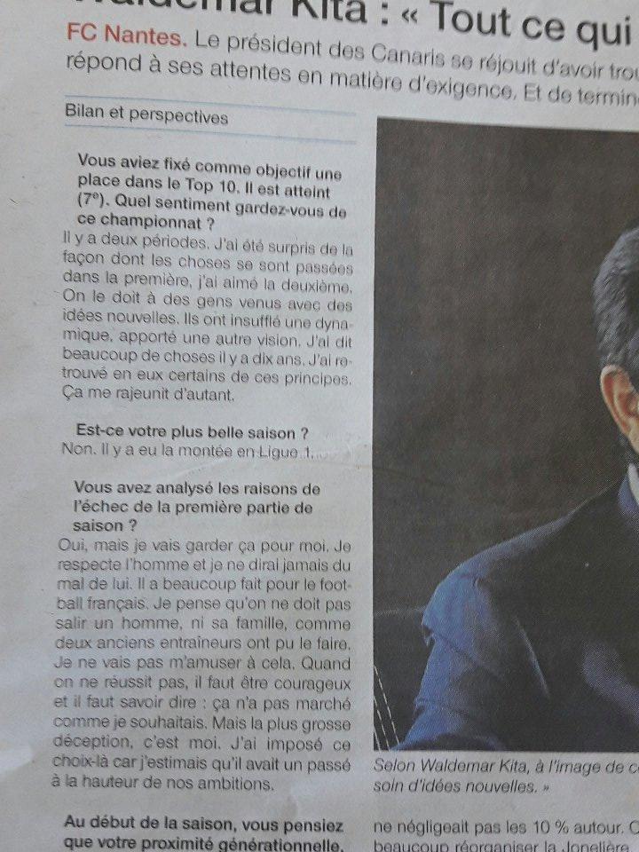Et enfin Waldemar Kita faisant un bilan et ayant des perspectives. #fcnantes pic.twitter.com/GHS8OAcjLN
