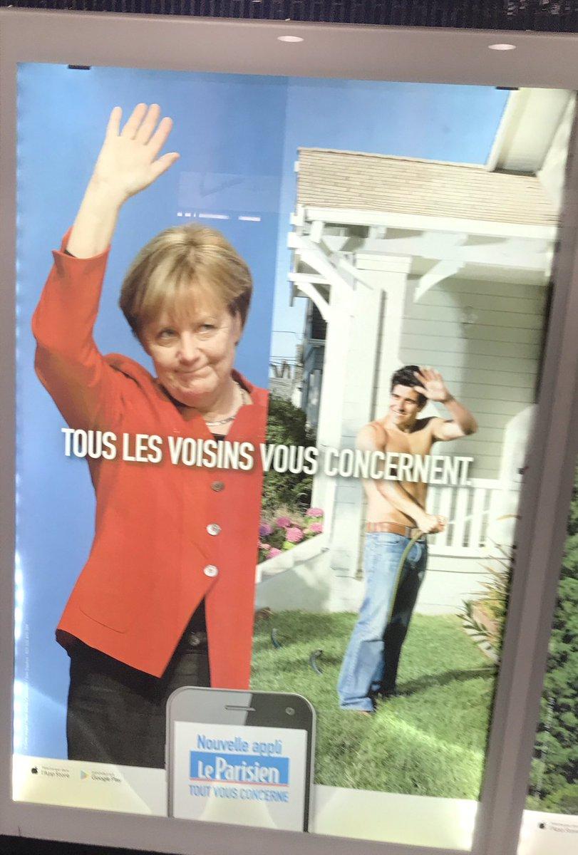 A great ad of @LeParisien_75 about #neighborhood in the metro Miromesnil! It reminds Germans of something no? #Nachbar #leparisien #Merkel<br>http://pic.twitter.com/MOKSRBpEd4