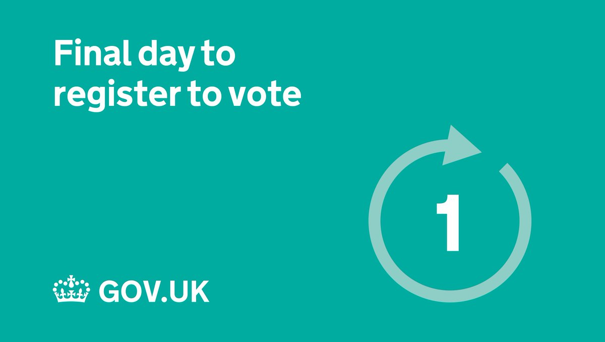 Register to vote in the General Election by midnight tonight: https://t.co/x9bGTTOJxO #RegistertoVote #GE2017 https://t.co/x9CZ4QUGdB