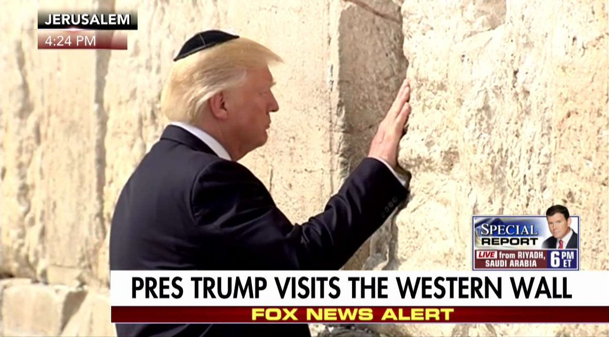 President Trump is the first sitting US President to visit the Western Wall.  #TrumpInIsrael #MondayMorning