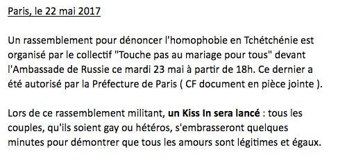 Tchétchénie : un kiss-in organisé demain devant l'ambassade de Russie à Paris #SOSGayTchétchénie https://t.co/VS82ugnyRY