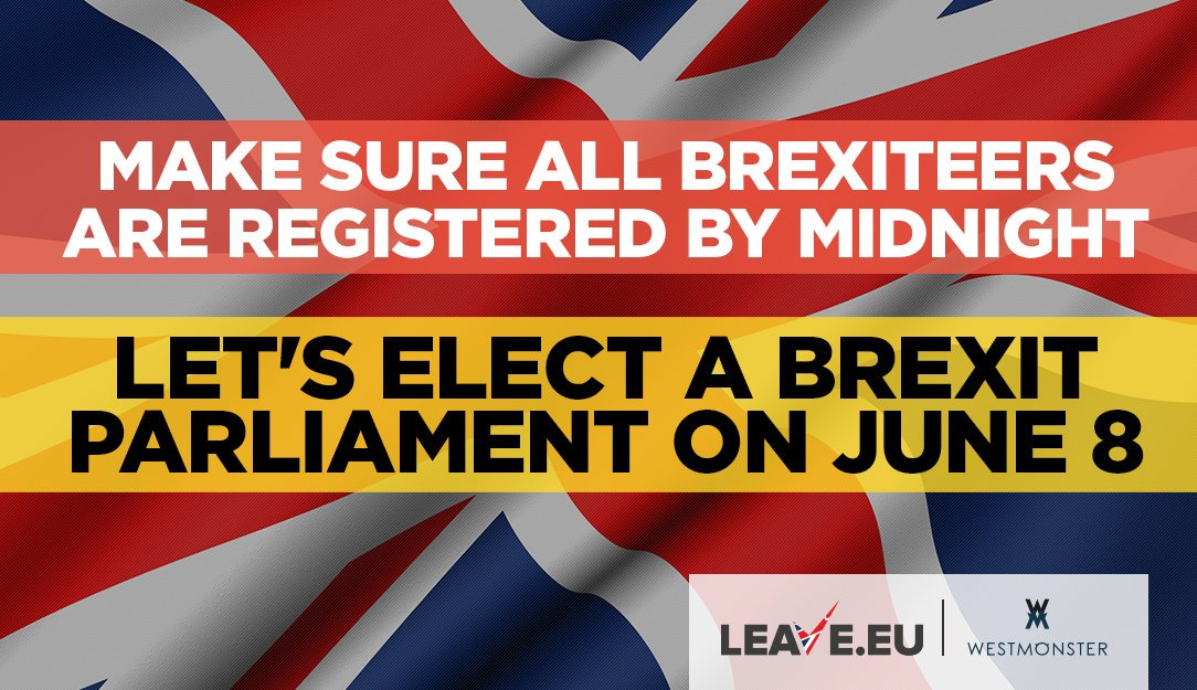 Make sure all #Brexiteers are registered to #vote by midnight tonight!   https://www. gov.uk/register-to-vo te &nbsp; …  #BBC #SKY #BREXIT #UKIP #TORY #LABOUR #NEWS<br>http://pic.twitter.com/9sWrvazlmD