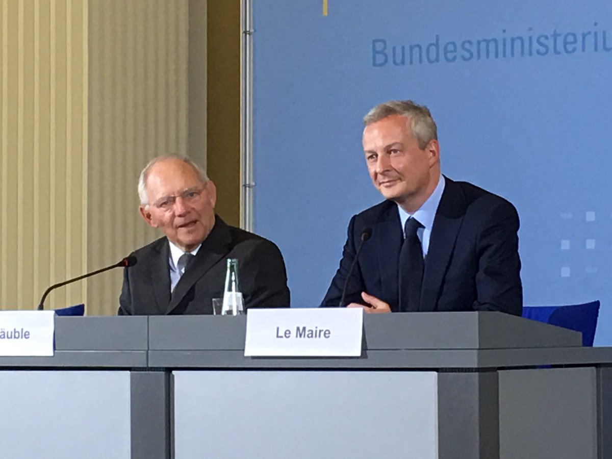 #Germany&#39;s FinMin #Schaeuble at first presser + French counterpart #leMaire: joint corporate tax, joint #eurozone finance minister on cards<br>http://pic.twitter.com/rT3t1F5cXE
