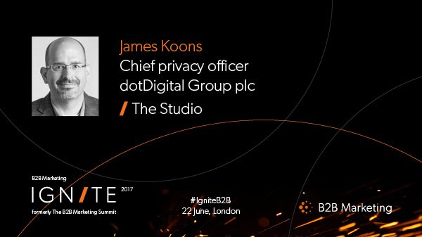 Excited to have James Koons from @dotmailer at the #IgniteB2B on 22 June https://t.co/nKpr3vkKEp https://t.co/c1YZDzyBKc