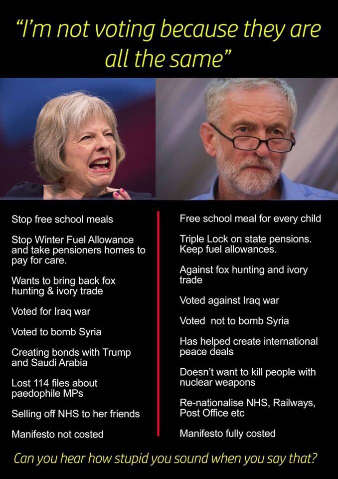 If you're not sure who to vote for, here's a 30 second catch up #GE2017