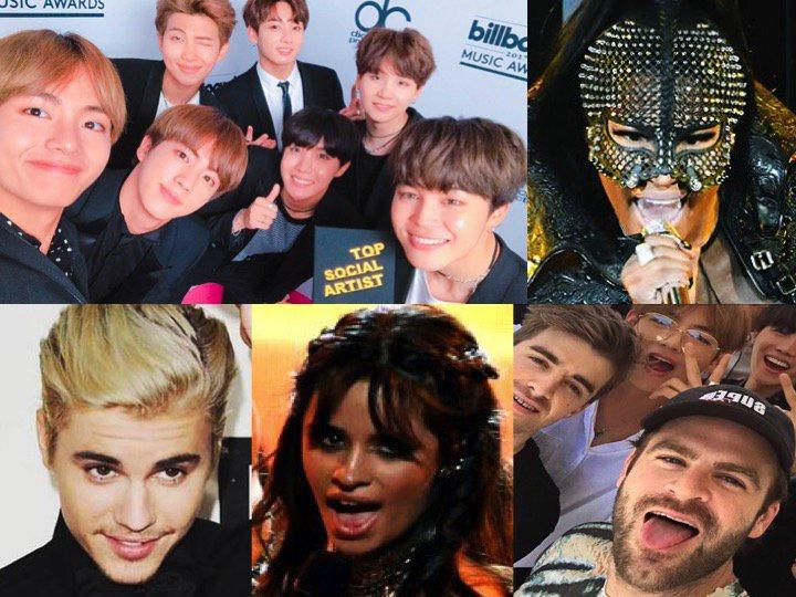 Most Tweeted Artists: 2017 #BBMAs! 👏🔥🔥 1. #BTS 2. #NickiMinaj 3. #JustinBieber 4. #CamilaCabello 5. #TheChainsmokers