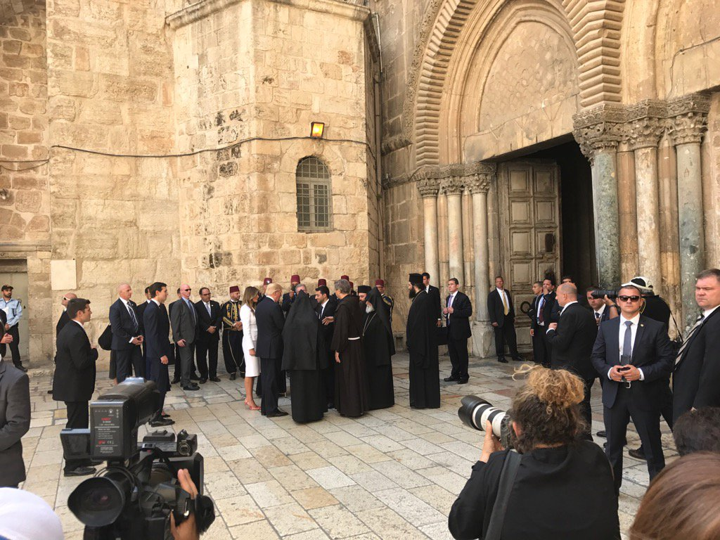 Pres Trump and Melania at the Church of the Holy Sepulchre