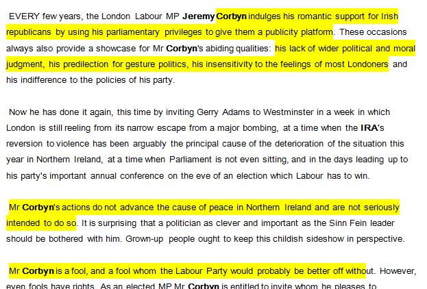 Incredible 1996 Guardian leader on the IRA: 'Mr Corbyn is a fool, and a fool whom the Labour Party would probably be better off without'.