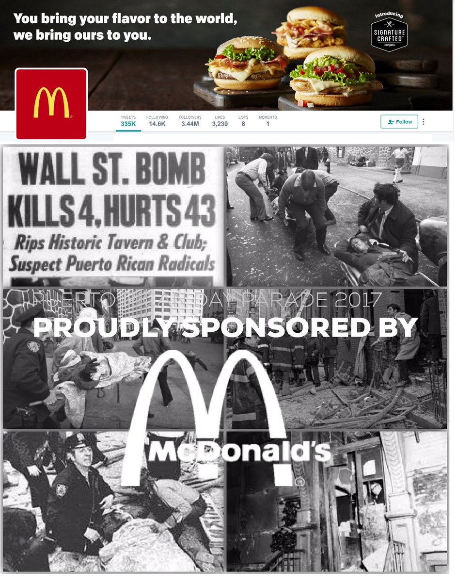 Its a PROUDLY SPONSOR to UNREPENTANT TERRORIST on NY Puertorrican Parade @McDonalds @McDonaldsCorp #Terrorist #Terrorista #McDonalds #Killer<br>http://pic.twitter.com/LAATnvb7rC