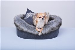 GLAMOUR GREY LUXURY FAUX FUR BED! Visit:   #dogs #dogbed #puppy #dogsoftwitter @PoshPuppy