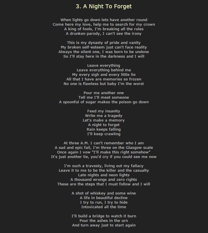 Lyric shot at the night lyrics : anighttoforget hashtag on Twitter