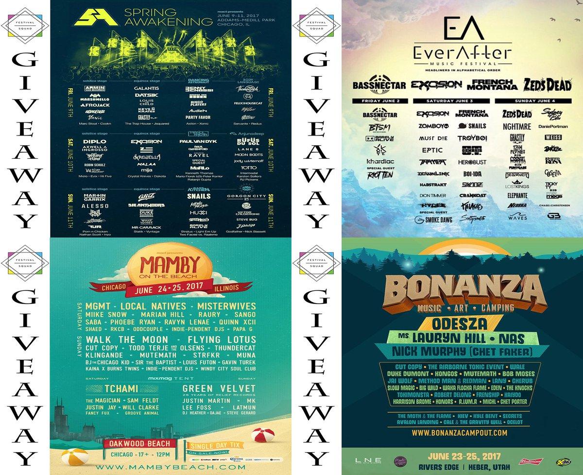 Currently running 4 Festival Giveaways! Squad Up! #SAMF #BONANZA #EverAfterFest #MAMBYBEACH  Enter Here:  http://www. facebook.com/festivalsquad/ posts/1884641378227952:0 &nbsp; … <br>http://pic.twitter.com/FBVjRUEBrX