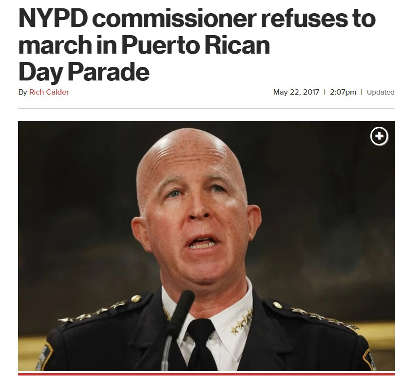NYPD Commissioner refuses to march in parade with COMMIE De Blasio, honoring a Puerto Rican terrorist.  https://t.co/4jywNvysG4