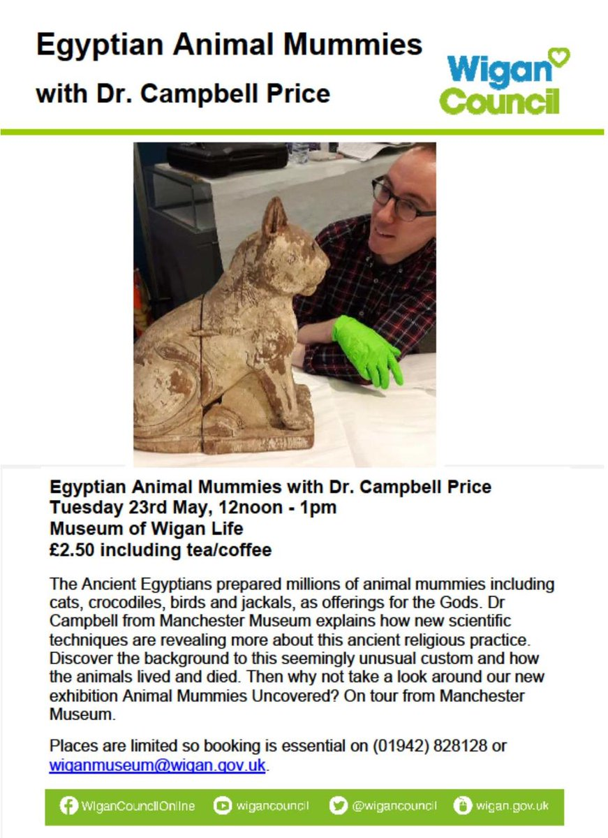 Amazing talk @WiganMuseum tomorrow about Animal Mummies with the brilliant Dr Campbell Price! Don&#39;t miss out! Ring to book @EgyptMcr #Egypt <br>http://pic.twitter.com/66Hh0WiBYt