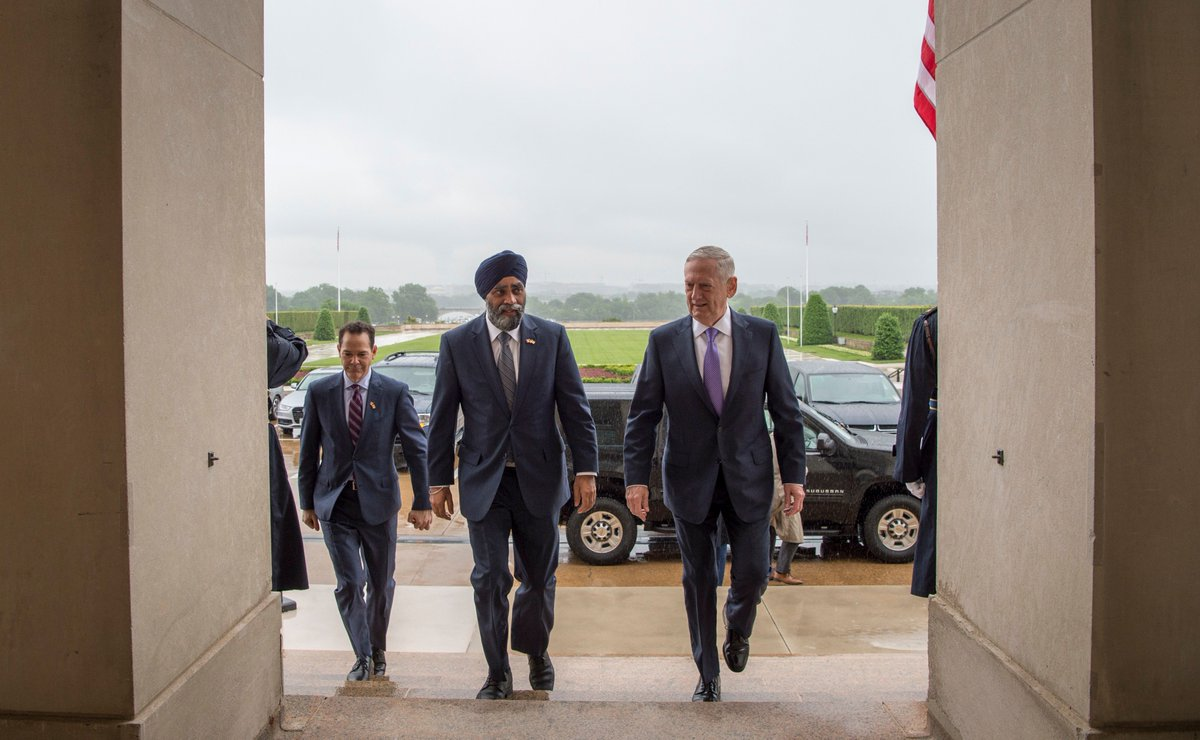 #SecDef Mattis met with #Canada's Minister of Defense @HarjitSajjan this morning at the #Pentagon.<br>http://pic.twitter.com/RCQUFxhGG4