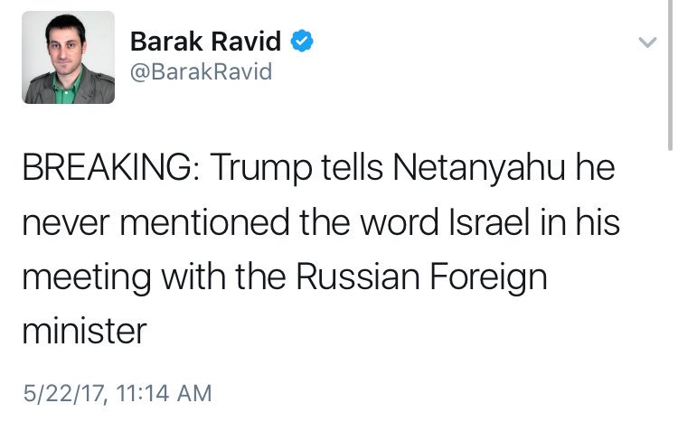 Trump denies doing something nobody said he did (IDing Israel) when he gave Russia classified intel. Original story: https://t.co/3DjkfDM3Ks