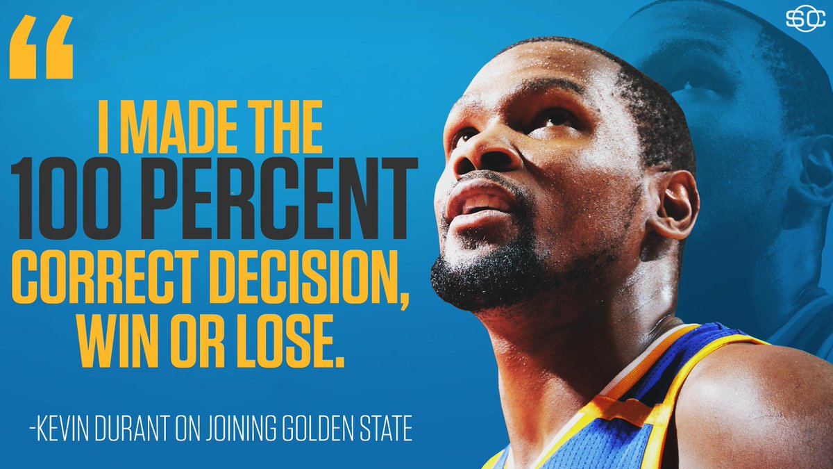 Kevin Durant has no regrets joining the Warriors. https://t.co/4ndt99k...