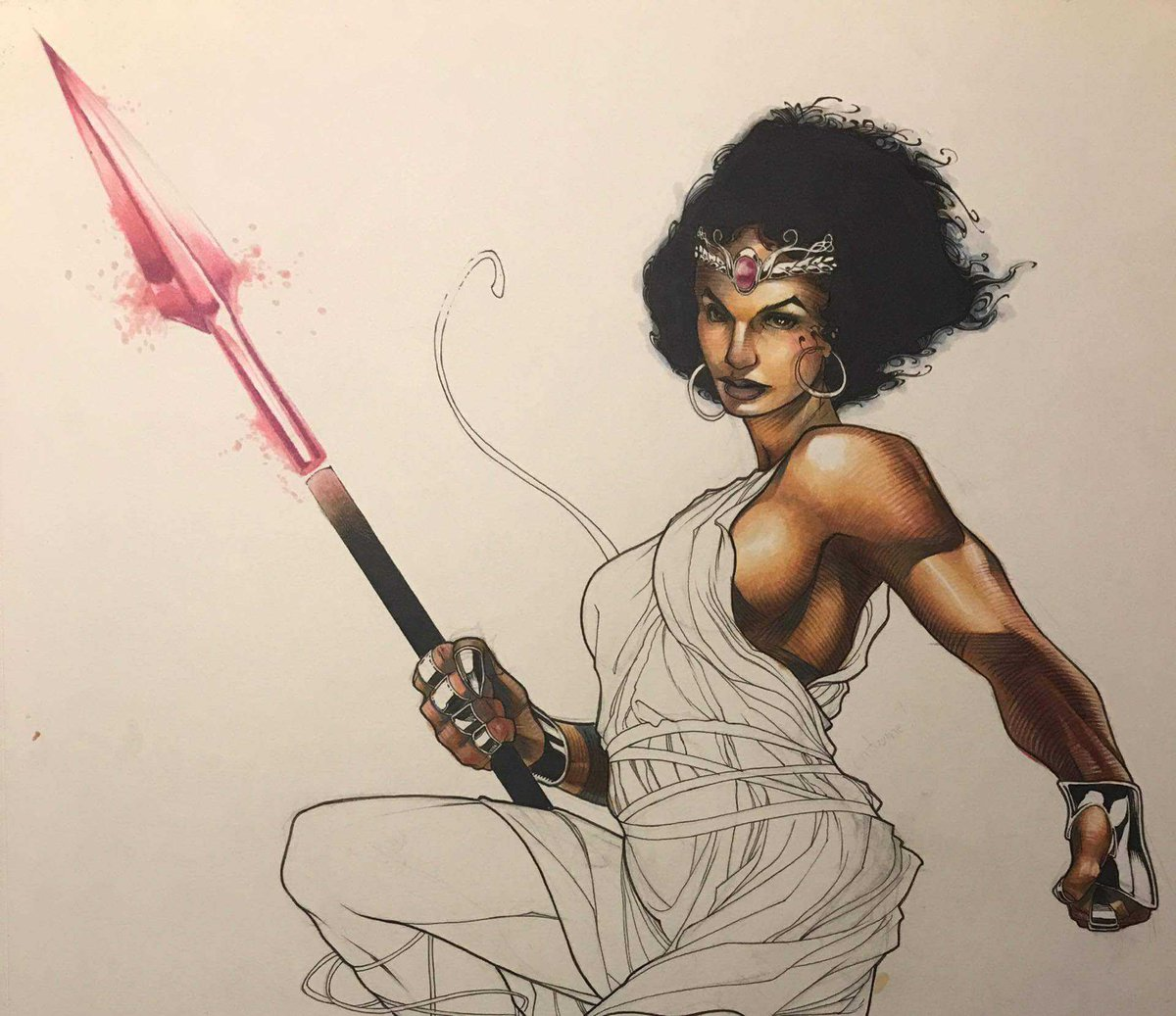 Because I&#39;m too excited about how good this is looking. Ladies and gentlemen... the art of @kinggoji   #Commission #art #Copic #Queen #afro <br>http://pic.twitter.com/1HWpfWO3bv