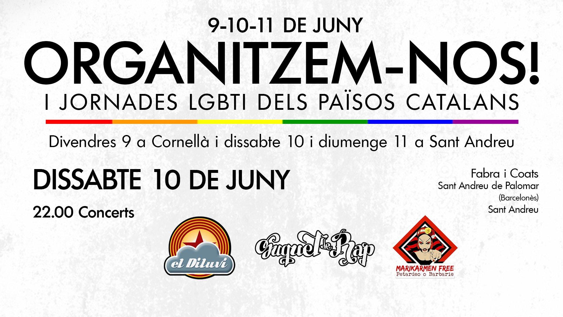La Crida LGBTI convoca I Jornades LGBTI dels Països Catalans [Música En Valencià] Els valencians el Diluvi & Suquet de rap al cadafal de les jornades Tweet