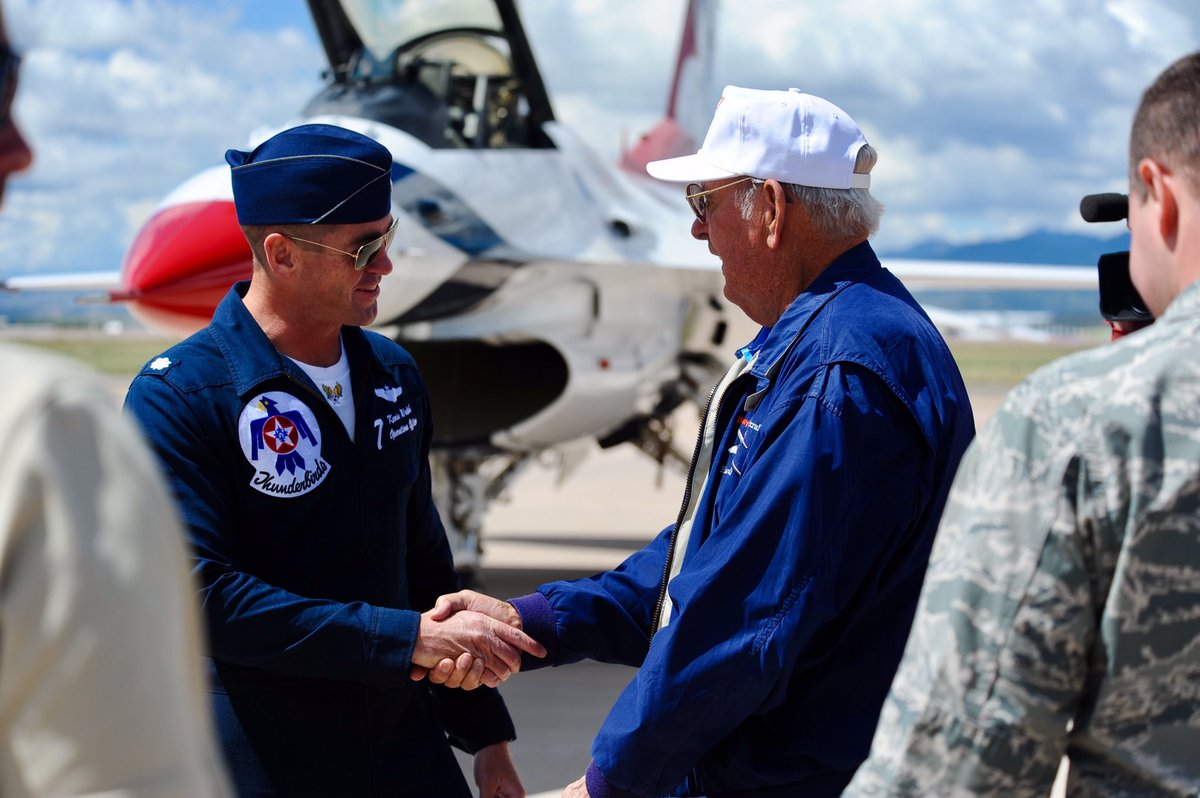 Nice to meet you! No. 7 meets with the oldest living #USAFA grad @AFTh...