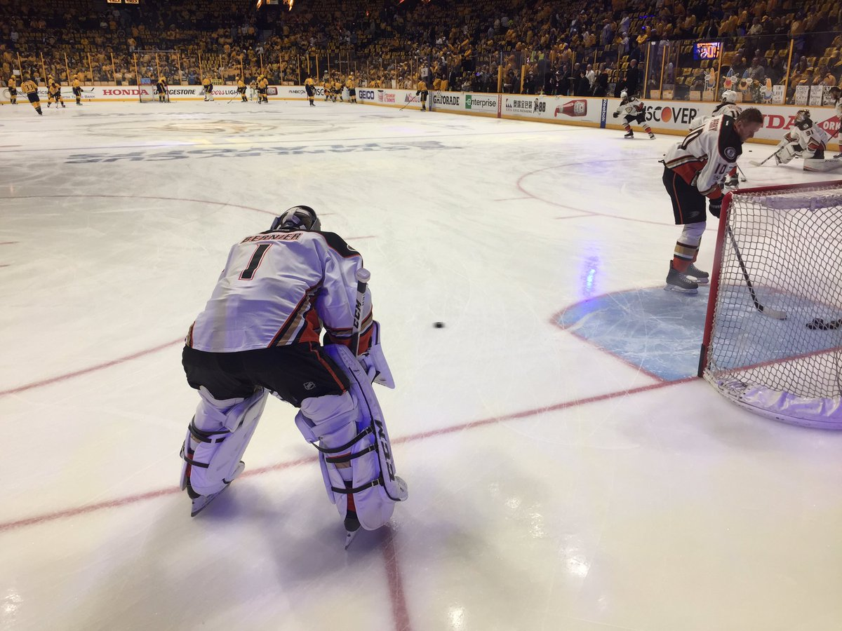 Jonathan Bernier and his #NHLDucks get ready for Game 6! #LetsGoDucks...