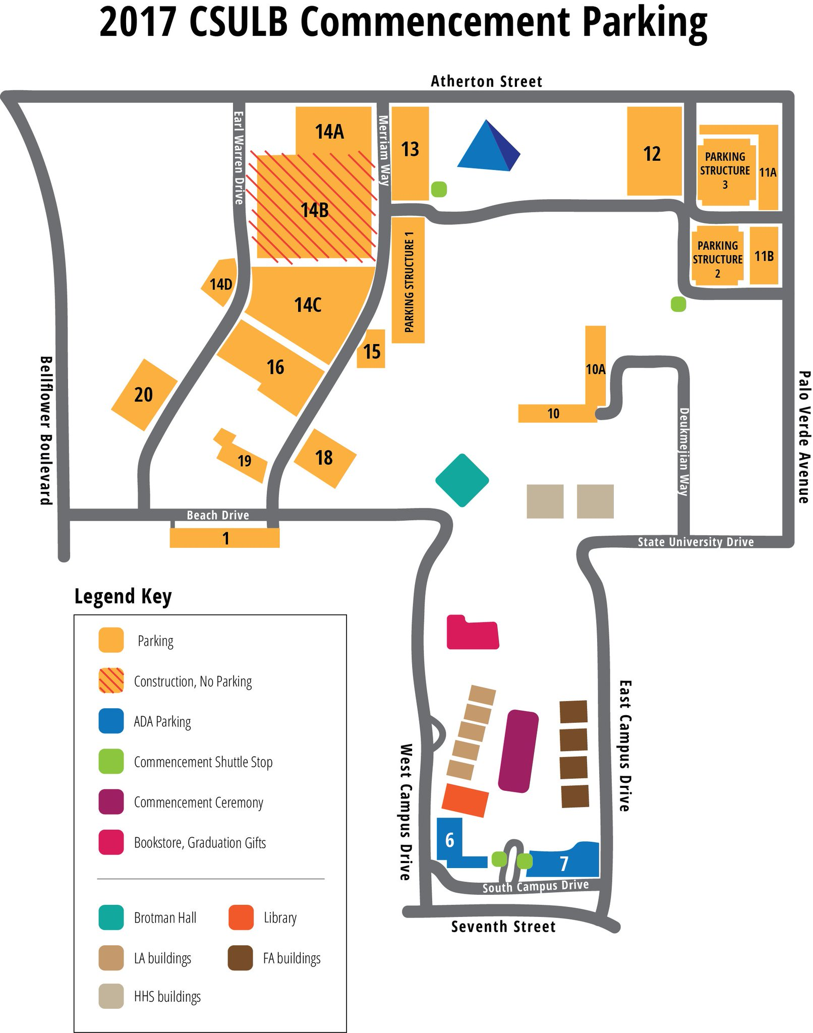 Not sure where to go at commencement?  Follow our map so you don't get lost in the crowds or parking lots! #CSULB #Graduation #Classof2017 https://t.co/EoL0EPyD8w