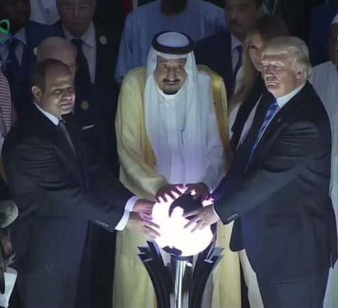 Ever since Trump touched the orb his arms have been getting longer