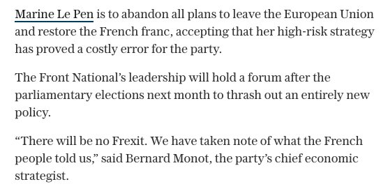 Marine Le Pen is making it official: the National Front no longer wants to leave the euro https://t.co/aTUwzNFv40