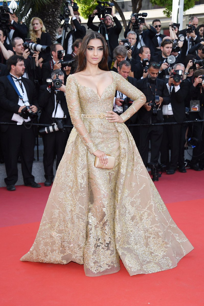 Sonam Kapoor Goes Gold Rush at Cannes Red Carpet image