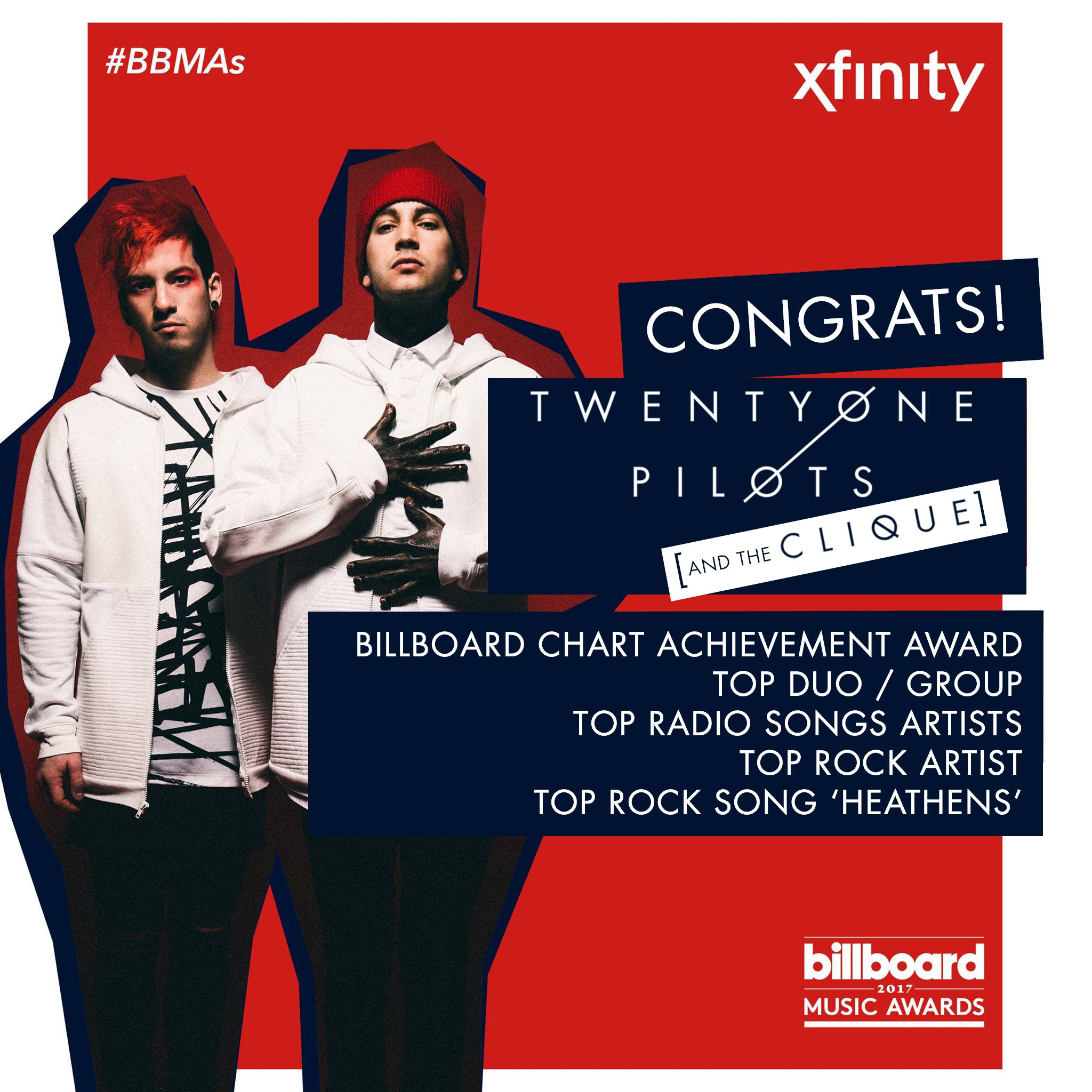 Congrats to @twentyonepilots and the Clique on the band's FIVE @billboard Music Award wins last night! https://t.co/krCUPWdKgL