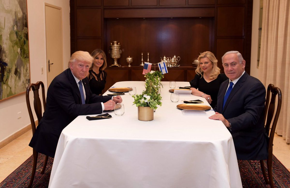 A festive dinner with @POTUS and @FLOTUS. Welcome to Jerusalem – the eternal capital of the Jewish people and the united capital of Israel!