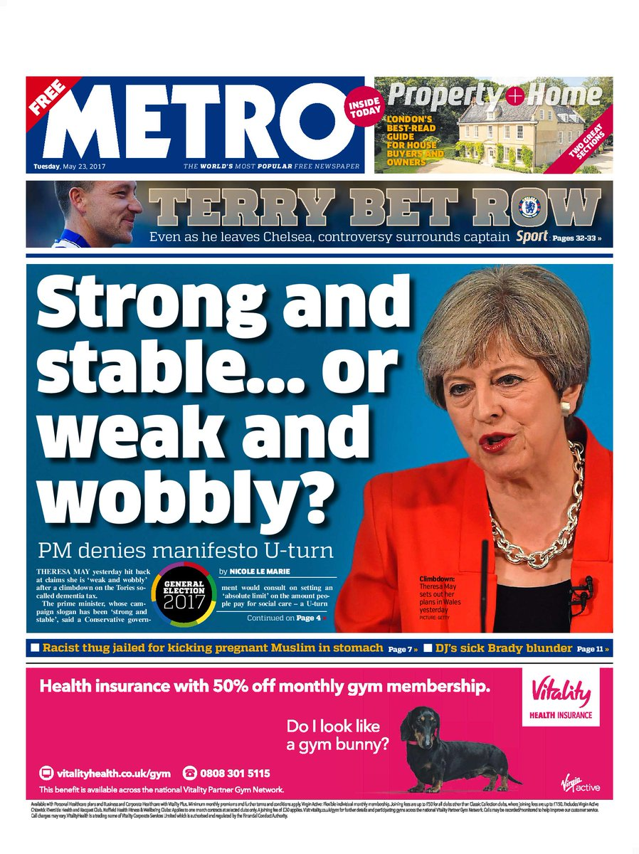 METRO FRONT PAGE: 'Strong and stable......
