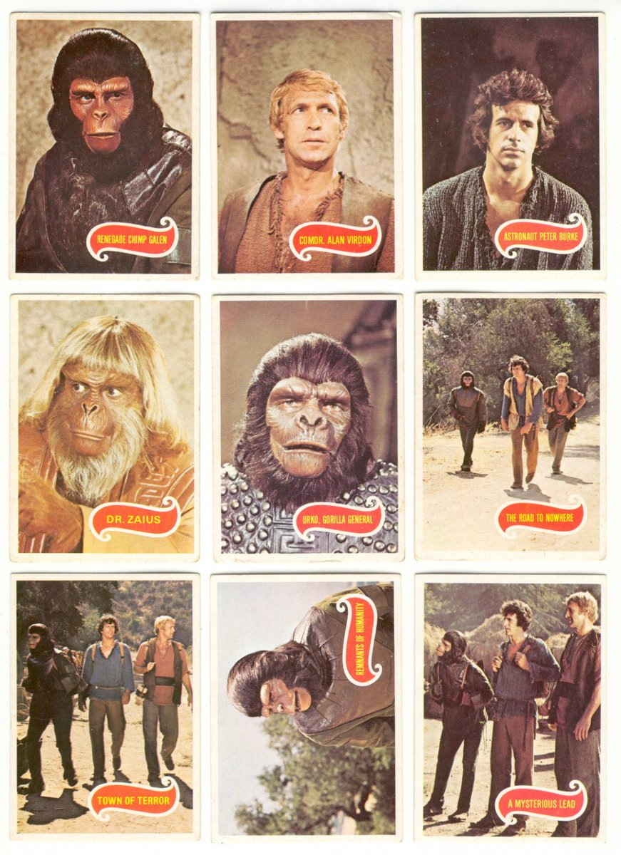 collected all #planetoftheapestvseries #bubblegum cards when at #infantschool. Was devastated when someone stole them out of my drawer #70s <br>http://pic.twitter.com/Hl6gIArGIV